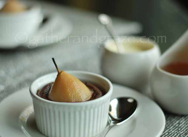Poached Pear Chocolate Pudding | The Dinner Party Collective